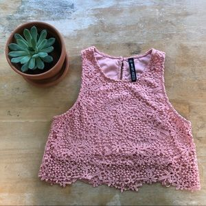 Design Lab Lord&Taylor Pink Lace Crop Top